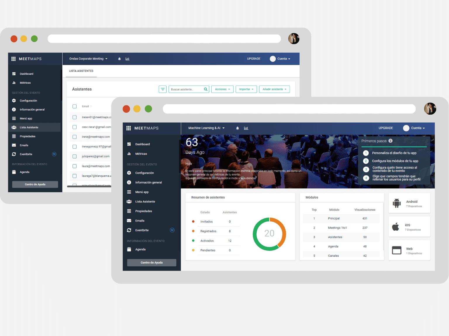 Panel gestión app para eventos