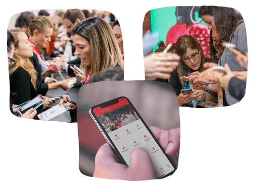 Gente usando aplicación de Meetmaps